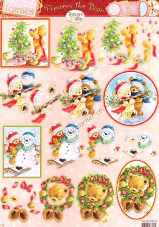 Christmas Popcorn The Bear No 33 Die Cut 3d Decoupage Craft Sheet